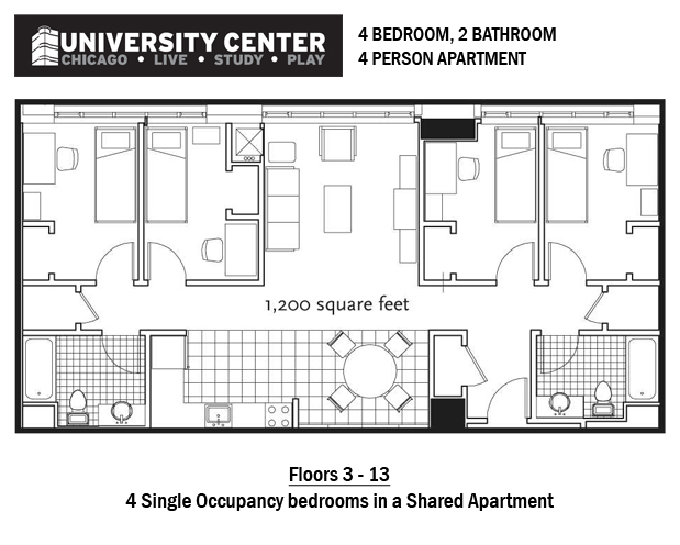 4BR 2BA 4 person apartment. The University Center   Students   Columbia College Chicago